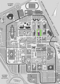 Ubicación del laboratorio de Televisión y video en el plano de la Universidad de Alicante