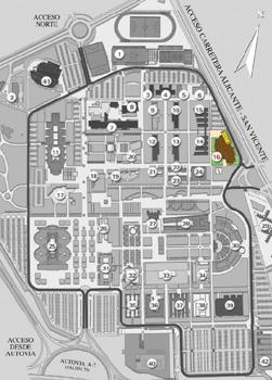 Ubicación del edificio 1 de la EPS en el plano de la Universidad de Alicante